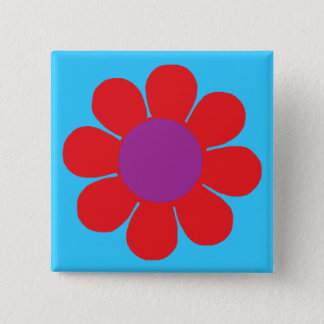Flower Power 2 Inch Square Button