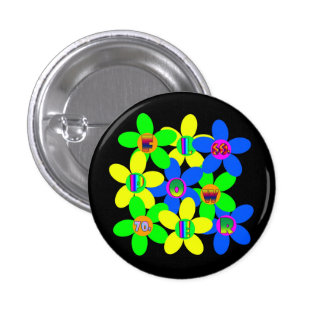 Flower Power 60s-70s 1 Inch Round Button