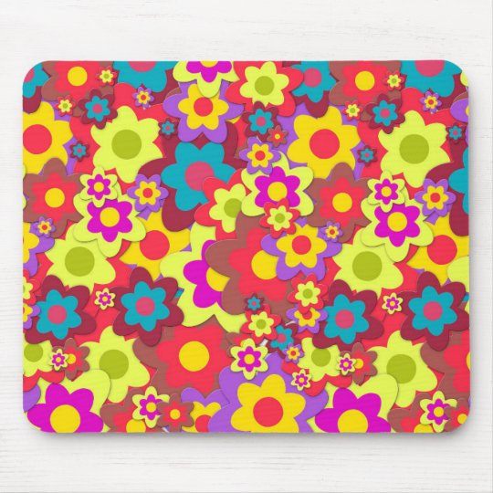 Flower Power 60s hippy Mouse Pad