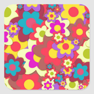 Flower Power 60s hippy Square Sticker