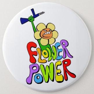 Flower power 6 inch round button