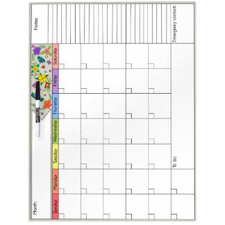 Flower Power 6W Calendar Dry Erase Board