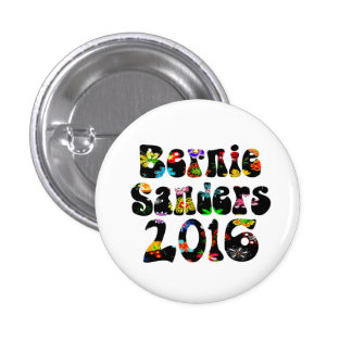 Flower Power Bernie Sanders 2016 1 Inch Round Button