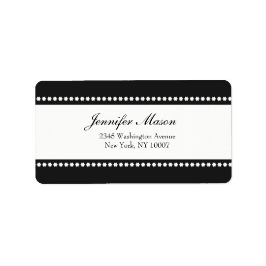 Flower power - black and white address labels
