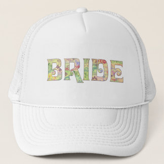 Flower power bride trucker hat