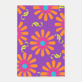 Flower power bright floral post-it notes