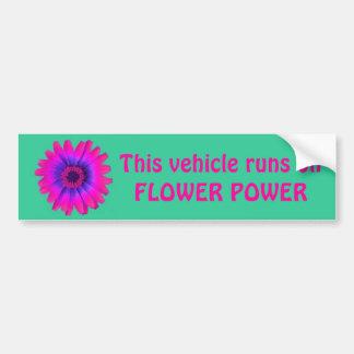 flower power bumper sticker green, This vehicle...