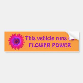 flower power bumper sticker lt orange, This veh...