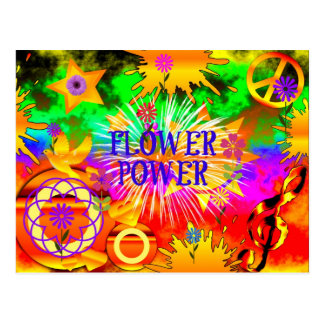 Flower Power - Colorful 1960s Motif Postcard