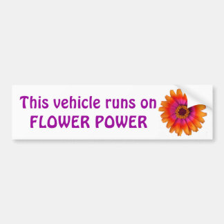flower power daisy orange, This vehicle runs on... Bumper Sticker