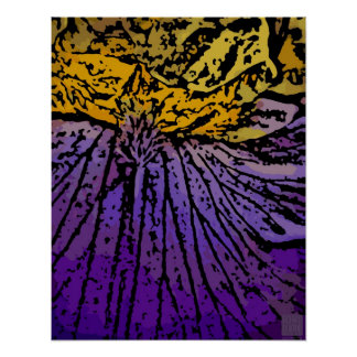 Flower power dans le pourpre et le jaune posters
