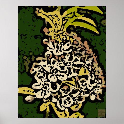 Flower power dans l'or et le blanc affiches