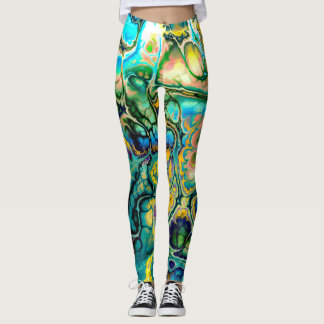Flower Power FRACTAL BATIK Teal Yellow Blue Salmon Leggings