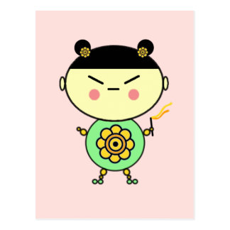 Flower Power Girl Postcard