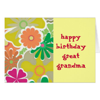 Flower Power Great Grandma  Birthday Card