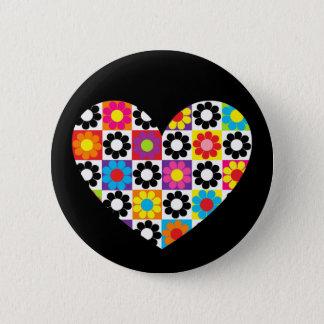 Flower Power Heart 2 Inch Round Button