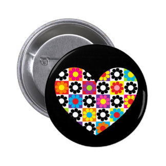 Flower Power Heart 2 Inch Round Button