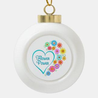 Flower Power Heart Ceramic Ball Christmas Ornament