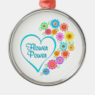 Flower Power Heart Metal Ornament