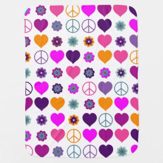 Flower Power Heart Peace Pattern + your backgr. Baby Blanket