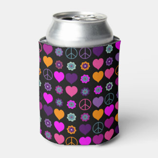 Flower Power Heart Peace Pattern + your backgr. Can Cooler