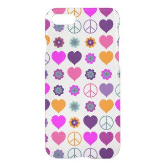 Flower Power Heart Peace Pattern + your backgr. iPhone 7 Case
