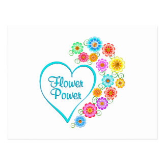 Flower Power Heart Postcard