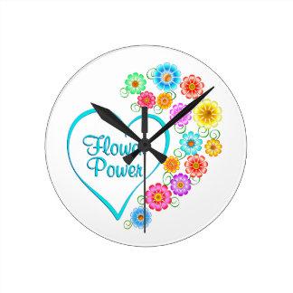 Flower Power Heart Round Clock