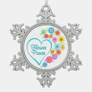 Flower Power Heart Snowflake Pewter Christmas Ornament