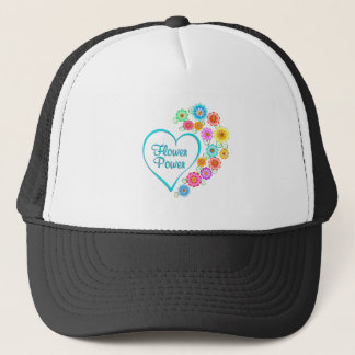 Flower Power Heart Trucker Hat