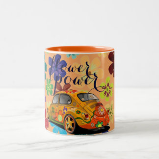 flower power hippie car coffee/tea mug