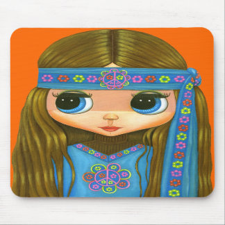 Flower Power Hippie Girl Mousepad