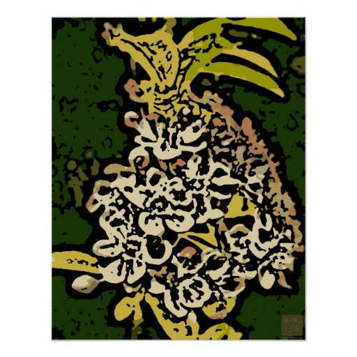 Flower Power in Gold and White Poster
