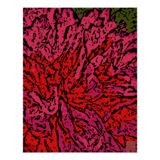 Flower Power in Magenta and Red Posters