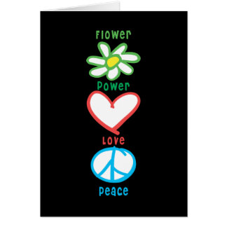 Flower Power Love and Peace Card