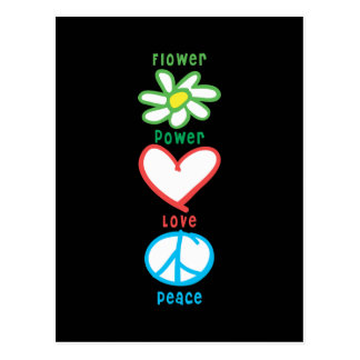 Flower Power Love and Peace Postcard