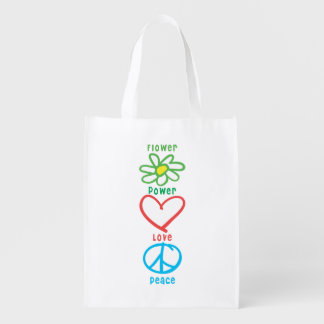 Flower Power Love and Peace Reusable Grocery Bag