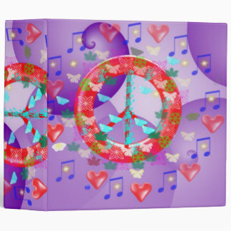 FLOWER POWER LOVE PEACE AVERY SCHOOL BINDER - ART