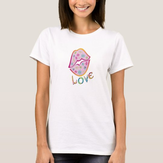 Flower Power Love women's short sleeve t-shirt