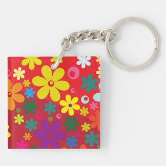 Flower Power on red Keychain