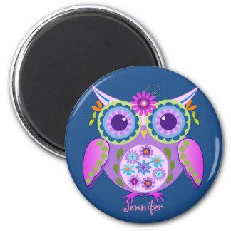 Flower power Owl & custom Name 2 Inch Round Magnet