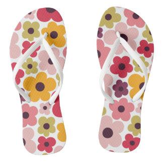 Flower Power Pattern Flip Flops
