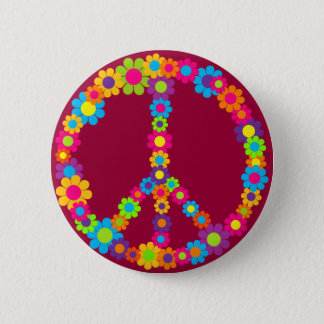 Flower Power Peace 2 Inch Round Button