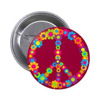 Flower Power Peace 2 Inch Round Button