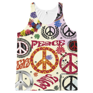 Flower Power Peace & Love Hippie All-Over-Print Tank Top