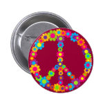 Flower Power Peace Pinback Buttons