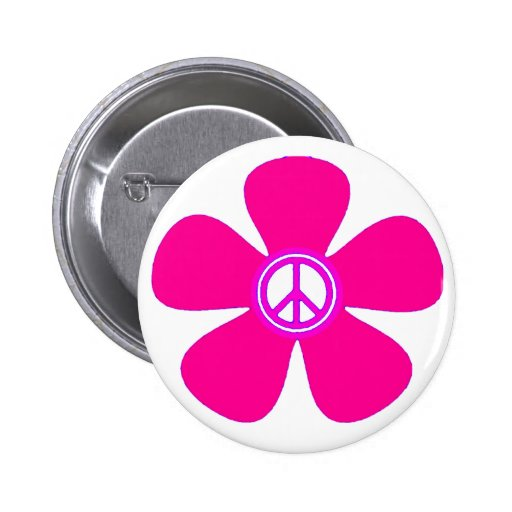 Flower Power Peace Sign Pinback Buttons