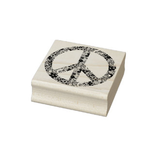 Flower Power Peace sign II + your backgr. & ideas Rubber Stamp