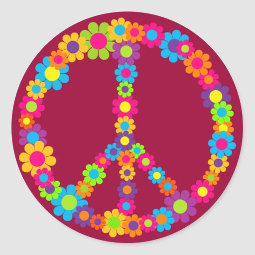 Flower Power Peace Stickers