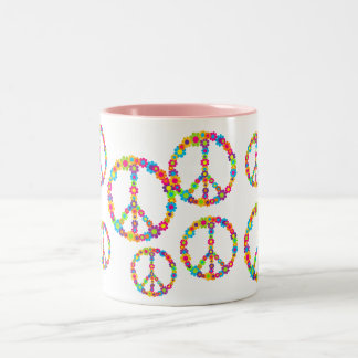 Flower Power Peace Two-Tone Coffee Mug